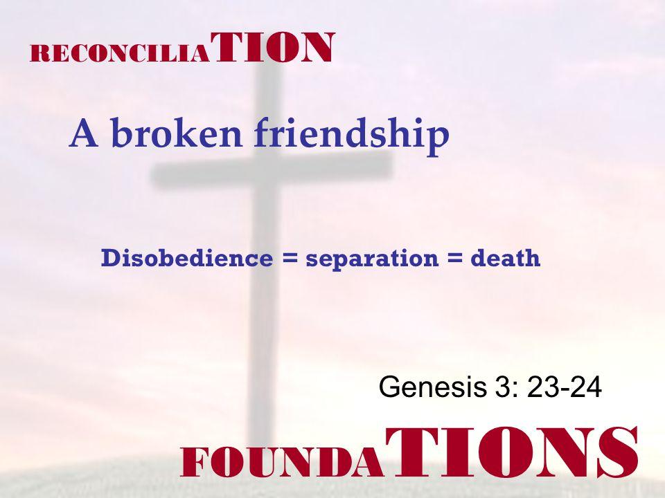 FOUNDA TIONS Genesis 3: 23-24 RECONCILIA TION A broken friendship Disobedience = separation = death