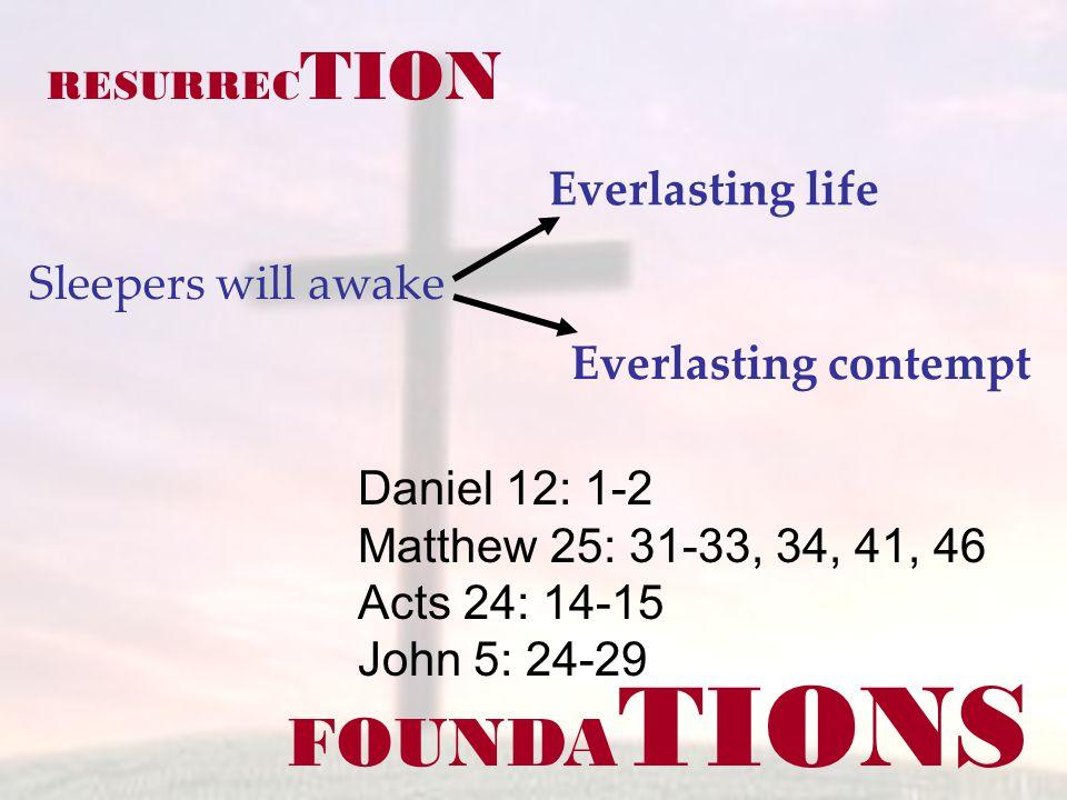FOUNDA TIONS Daniel 12: 1-2 Matthew 25: 31-33, 34, 41, 46 Acts 24: 14-15 John 5: 24-29 RESURREC TION Sleepers will awake Everlasting life Everlasting contempt
