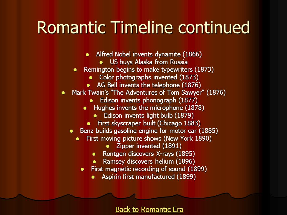 Romantic Timeline continued Alfred Nobel invents dynamite (1866) Alfred Nobel invents dynamite (1866) US buys Alaska from Russia US buys Alaska from R