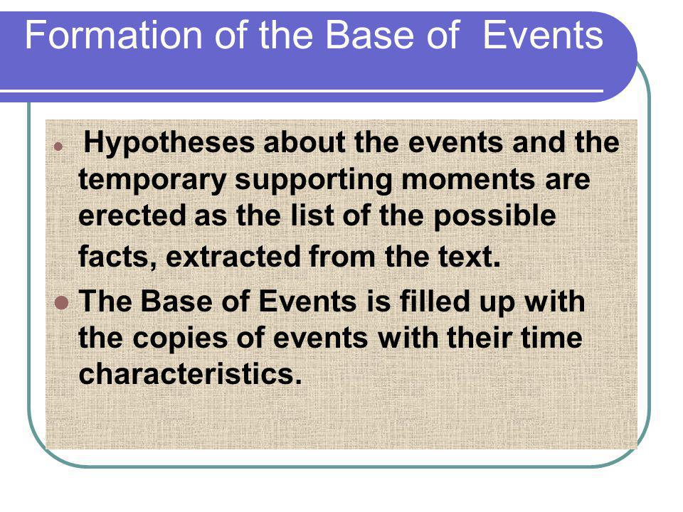 Formation of the Base of Events Hypotheses about the events and the temporary supporting moments are erected as the list of the possible facts, extrac