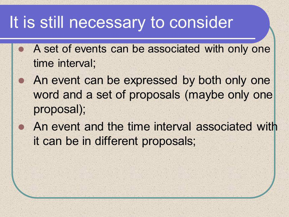 It is still necessary to consider A set of events can be associated with only one time interval ; An event can be expressed by both only one word and