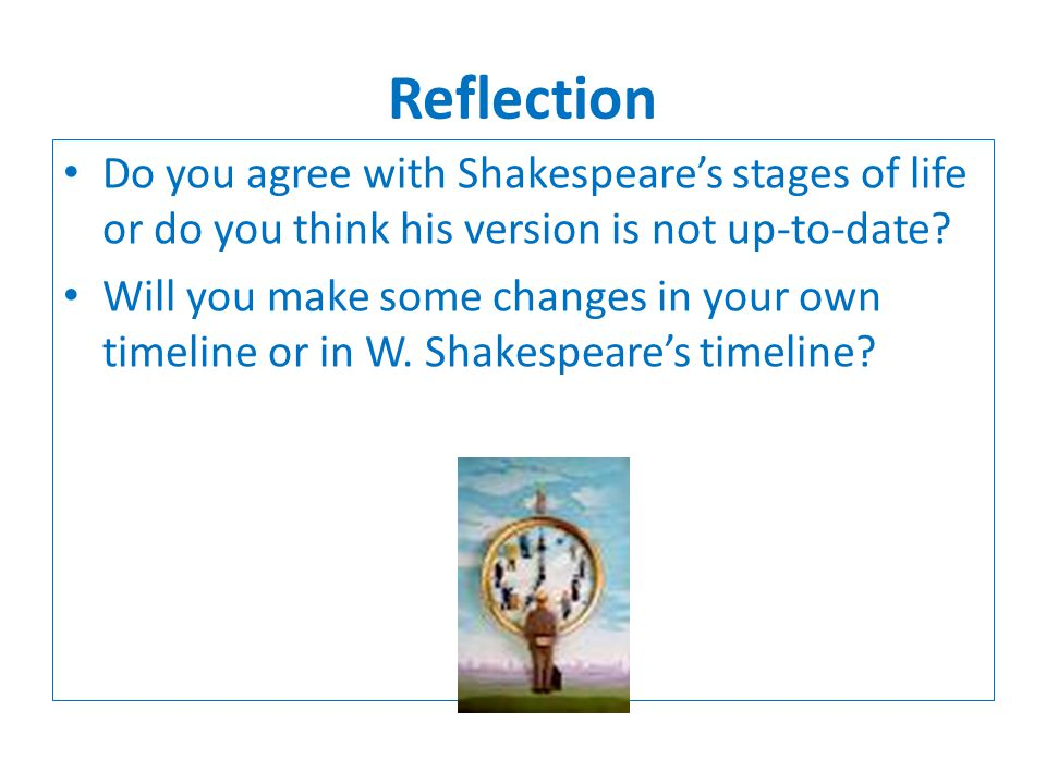 Reflection Do you agree with Shakespeares stages of life or do you think his version is not up-to-date? Will you make some changes in your own timelin