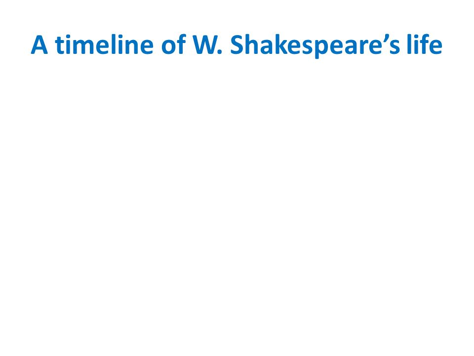 A timeline of W. Shakespeares life