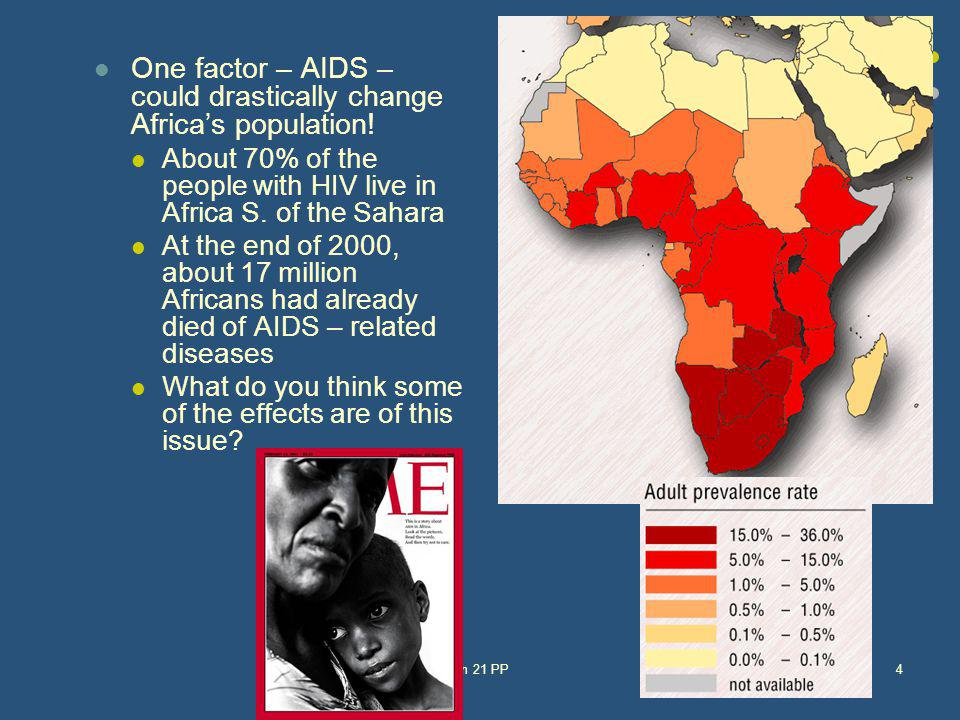 One factor – AIDS – could drastically change Africas population! About 70% of the people with HIV live in Africa S. of the Sahara At the end of 2000,