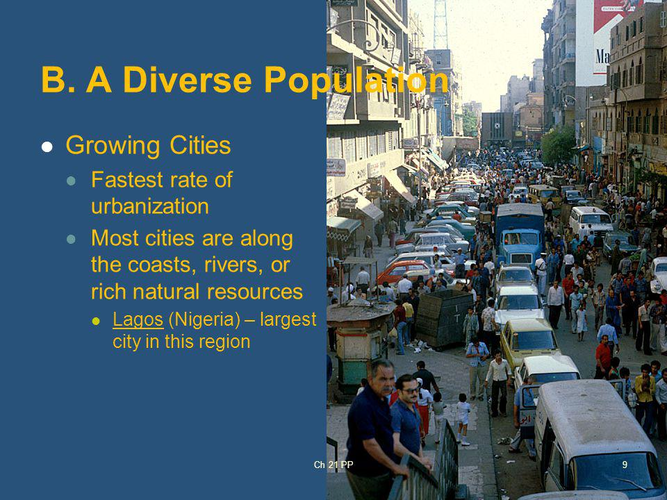 B. A Diverse Population Growing Cities Fastest rate of urbanization Most cities are along the coasts, rivers, or rich natural resources Lagos (Nigeria
