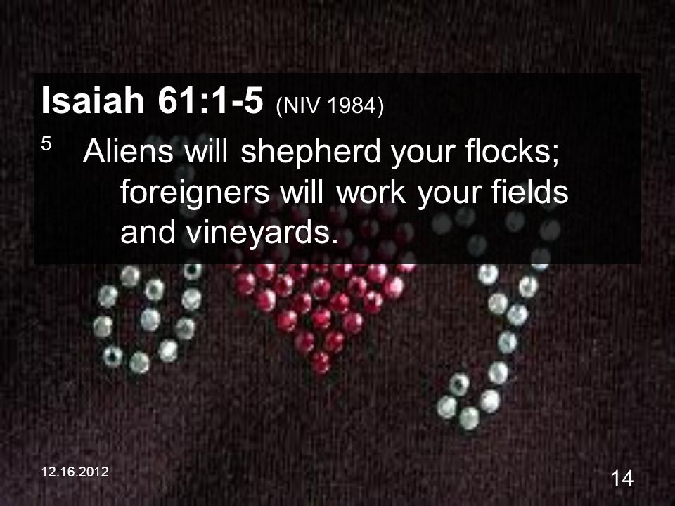 12.16.2012 14 Isaiah 61:1-5 (NIV 1984) 5 Aliens will shepherd your flocks; foreigners will work your fields and vineyards.