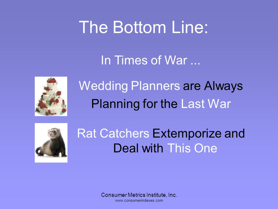 Consumer Metrics Institute, Inc. www.consumerindexes.com A Field Guide for Indentifying: Rat Catcher Wedding Planner