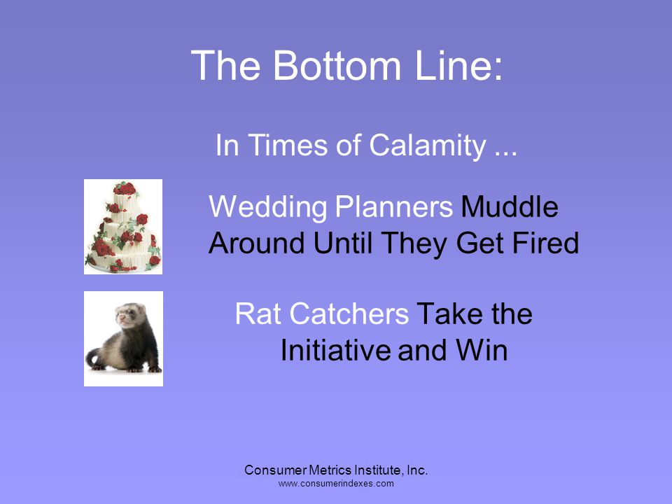 Consumer Metrics Institute, Inc. www.consumerindexes.com Wedding Planners Excel at Ceremony and Tradition Rat Catchers are Awkward to Have Around The