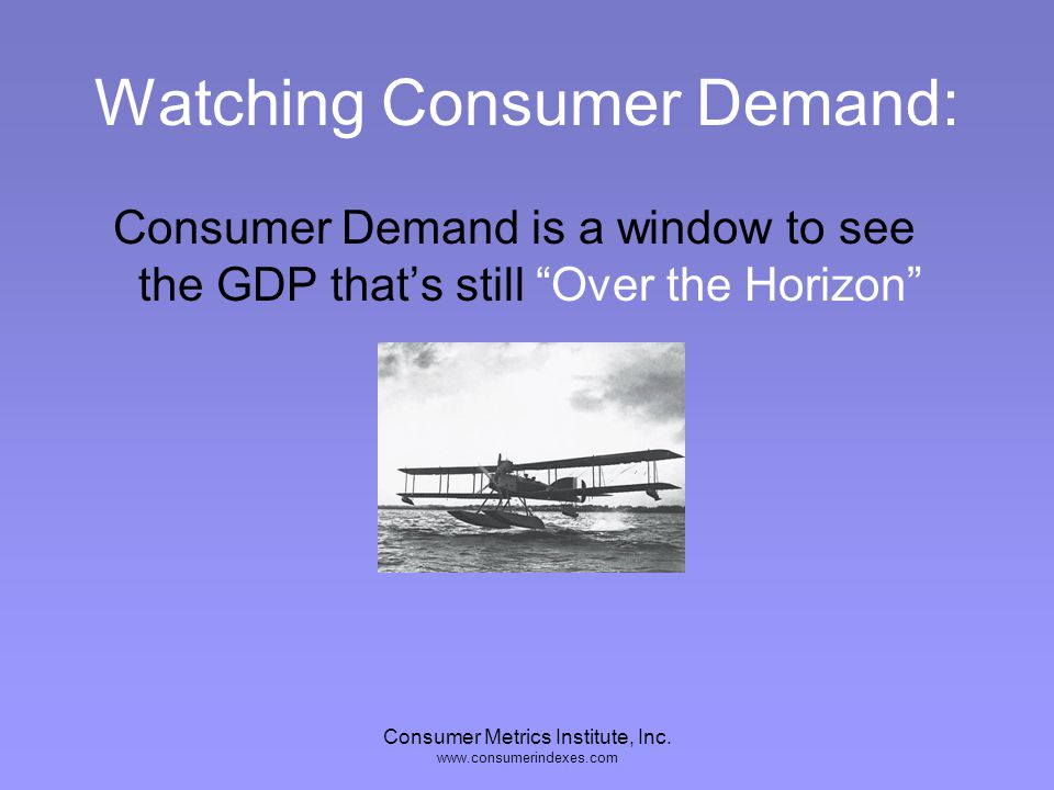 Consumer Metrics Institute, Inc. www.consumerindexes.com Lag Consumer Demand