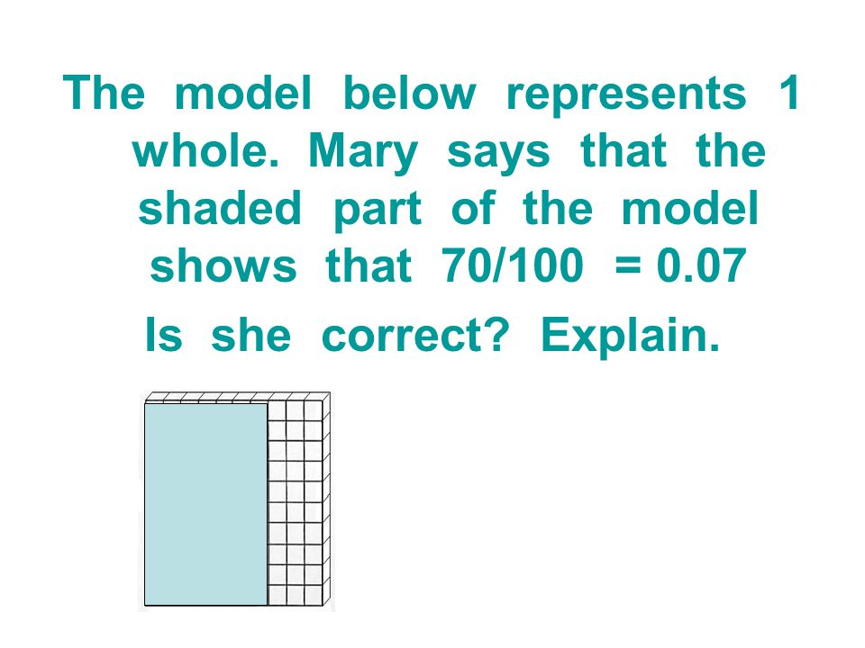 The model below represents 1 whole. Mary says that the shaded part of the model shows that 70/100 = 0.07 Is she correct? Explain.
