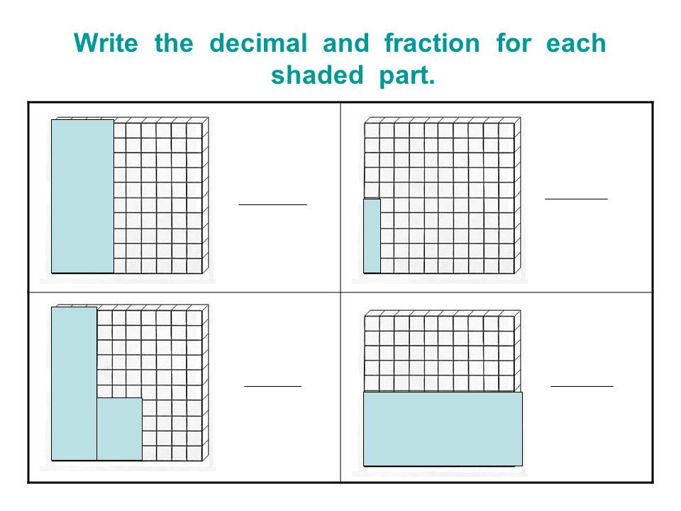 Write the decimal and fraction for each shaded part.