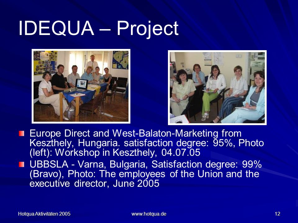 Hotqua Aktivitäten 2005 www.hotqua.de 12 IDEQUA – Project Europe Direct and West-Balaton-Marketing from Keszthely, Hungaria.