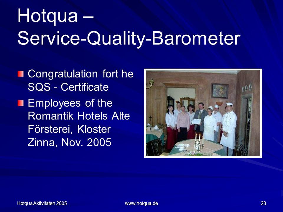 Hotqua Aktivitäten 2005 www.hotqua.de 23 Hotqua – Service-Quality-Barometer Congratulation fort he SQS - Certificate Employees of the Romantik Hotels
