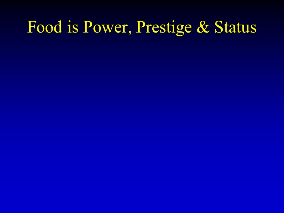 Food is Power, Prestige & Status