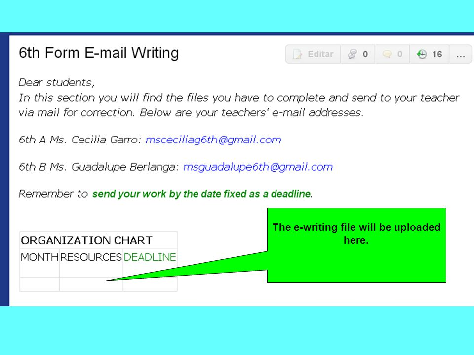 Click on this button to access the E-mail Writing section.