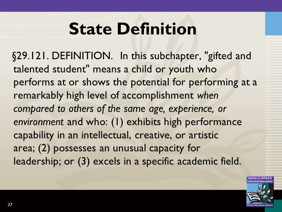 27 State Definition §29.121. DEFINITION. In this subchapter,