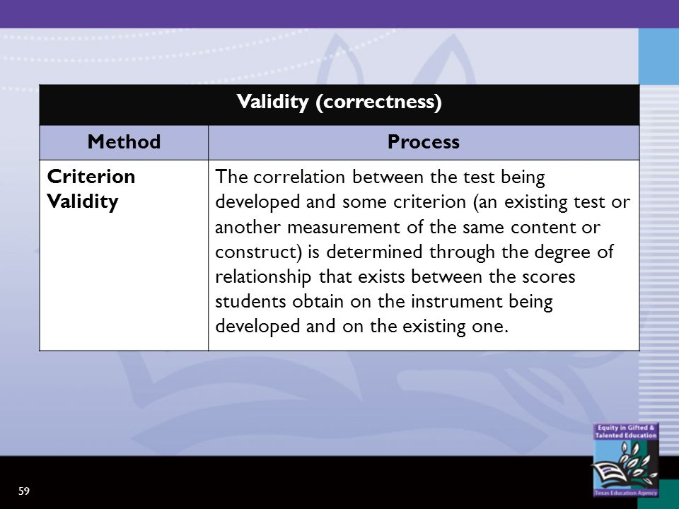 59 Validity (correctness) MethodProcess Criterion Validity The correlation between the test being developed and some criterion (an existing test or another measurement of the same content or construct) is determined through the degree of relationship that exists between the scores students obtain on the instrument being developed and on the existing one.