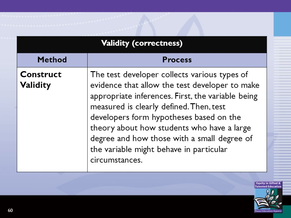 60 Validity (correctness) MethodProcess Construct Validity The test developer collects various types of evidence that allow the test developer to make appropriate inferences.