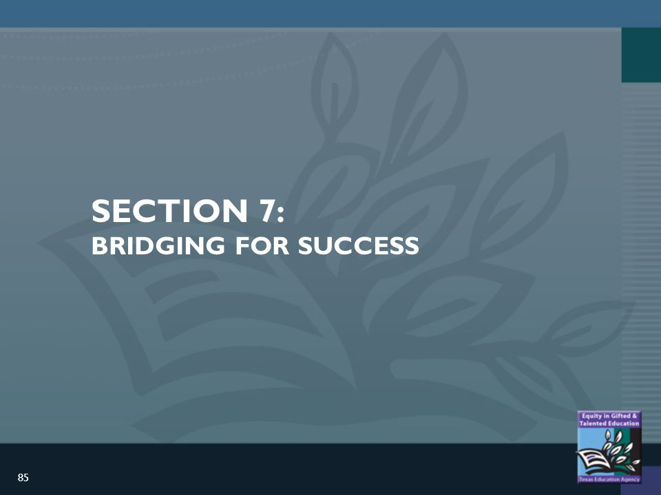 85 SECTION 7: BRIDGING FOR SUCCESS