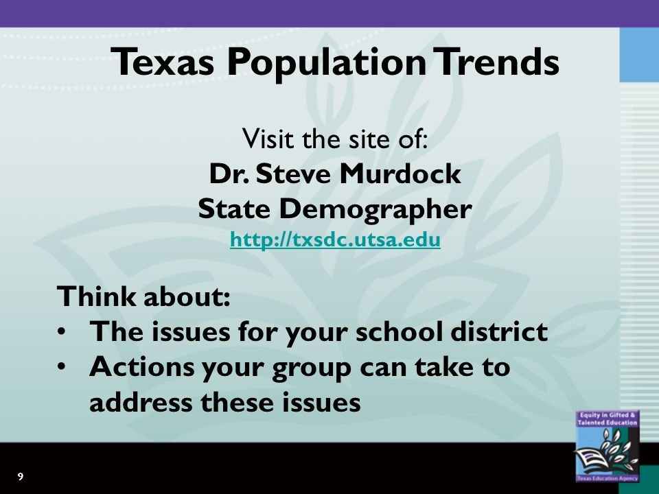 9 Texas Population Trends Visit the site of: Dr.