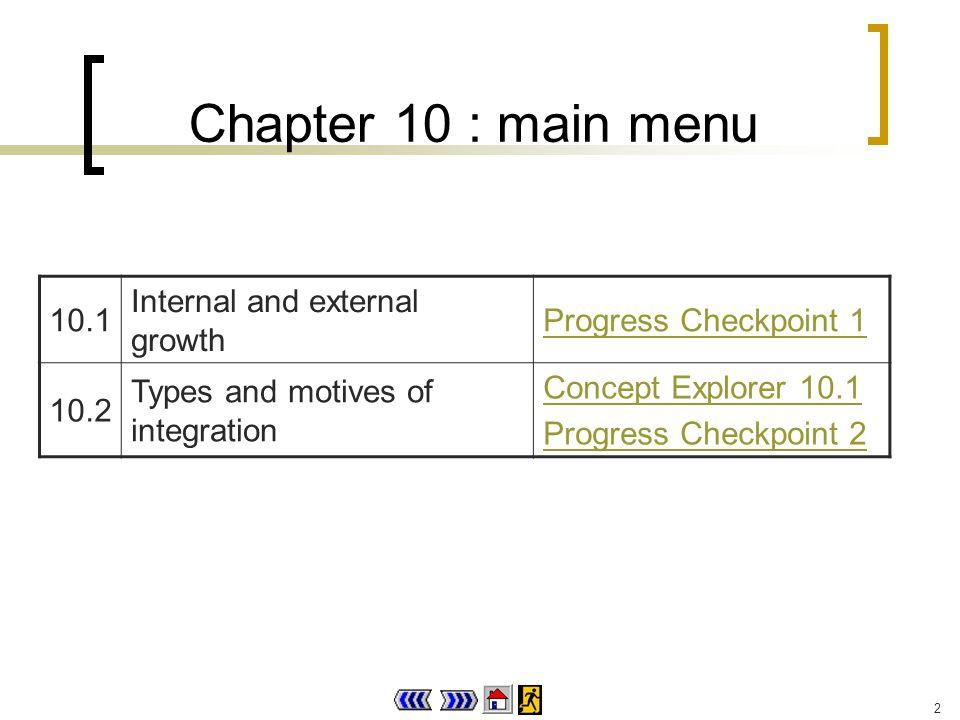 2 Chapter 10 : main menu 10.1 Internal and external growth Progress Checkpoint 1 10.2 Types and motives of integration Concept Explorer 10.1 Progress Checkpoint 2