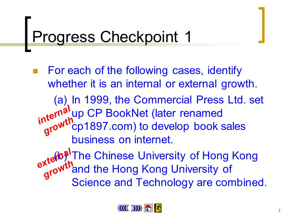 3 Progress Checkpoint 1 For each of the following cases, identify whether it is an internal or external growth.