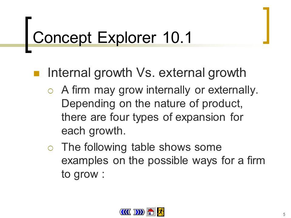 5 Concept Explorer 10.1 Internal growth Vs.