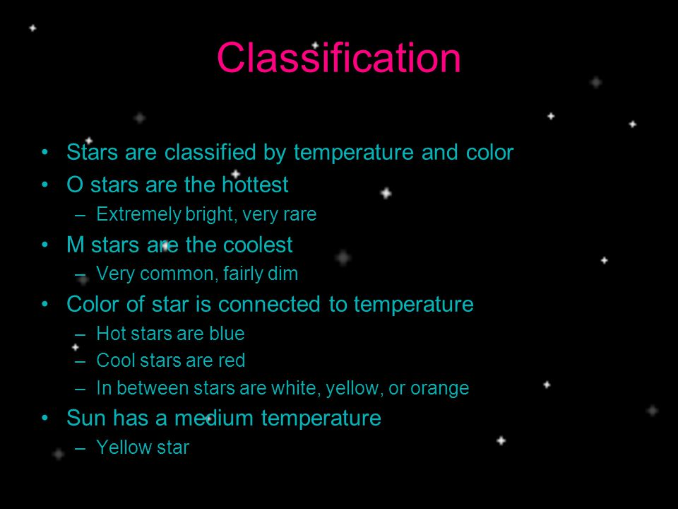 Classification Stars are classified by temperature and color O stars are the hottest –Extremely bright, very rare M stars are the coolest –Very common, fairly dim Color of star is connected to temperature –Hot stars are blue –Cool stars are red –In between stars are white, yellow, or orange Sun has a medium temperature –Yellow star