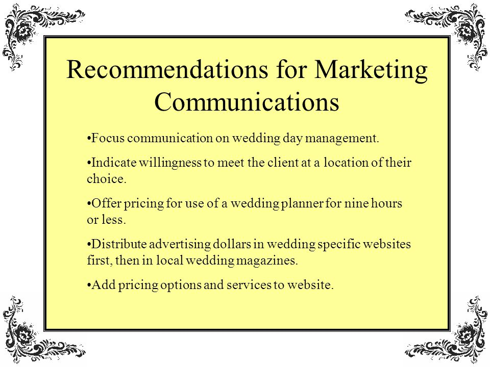 Recommendations for Marketing Communications Focus communication on wedding day management.