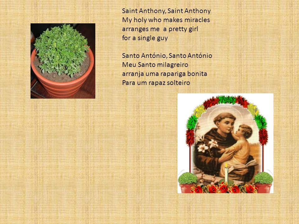 Saint Anthony, Saint Anthony My holy who makes miracles arranges me a pretty girl for a single guy Santo António, Santo António Meu Santo milagreiro arranja uma rapariga bonita Para um rapaz solteiro