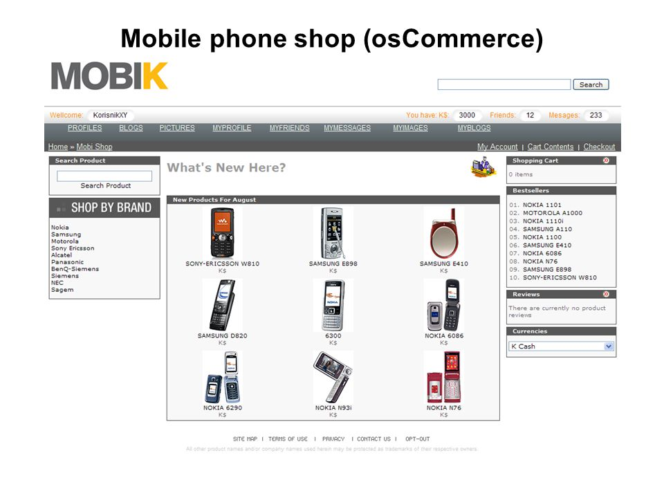 Mobile phone shop (osCommerce)