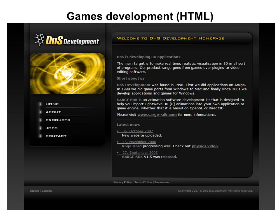 Games development (HTML)