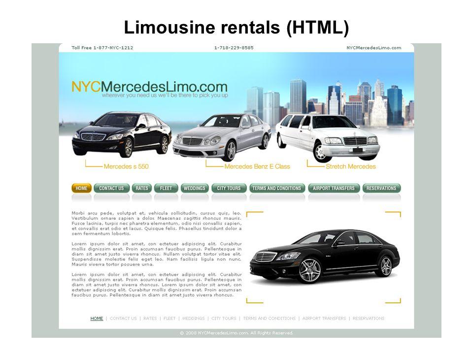 Limousine rentals (HTML)