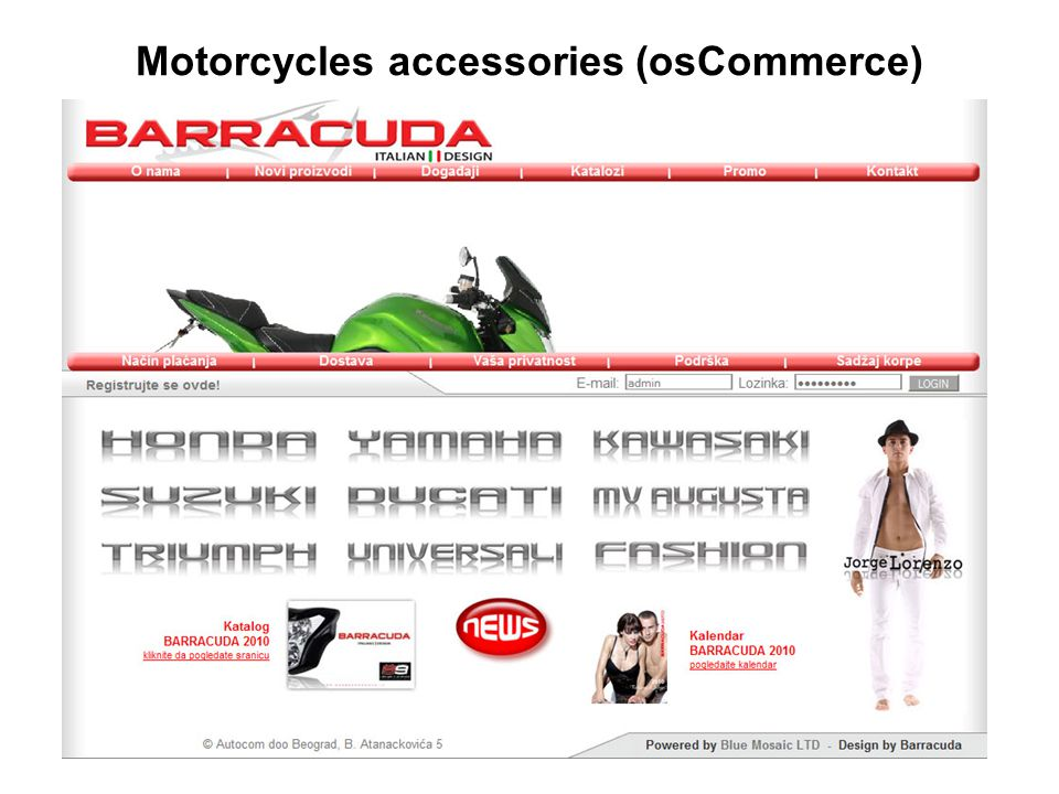 Motorcycles accessories (osCommerce)