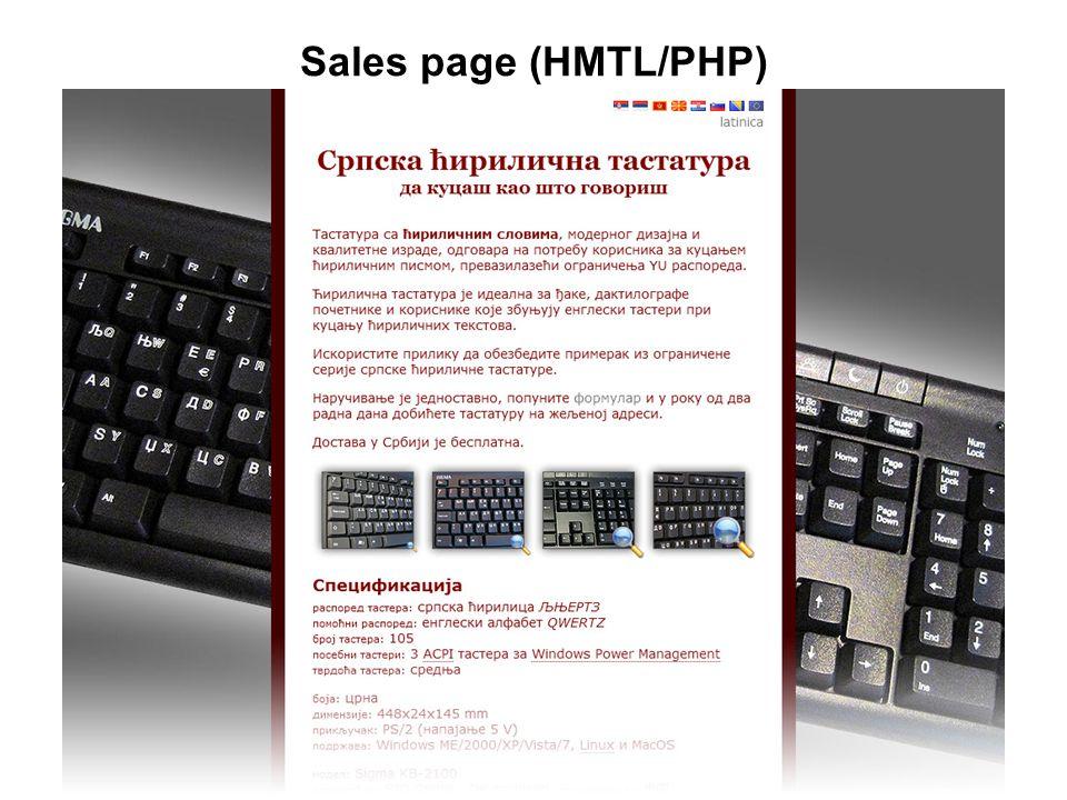 Sales page (HMTL/PHP)