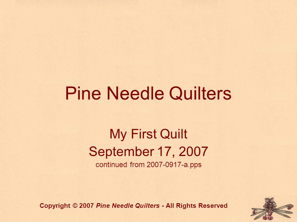 Pine Needle Quilters My First Quilt September 17, 2007 continued from 2007-0917-a.pps Copyright © 2007 Pine Needle Quilters - All Rights Reserved