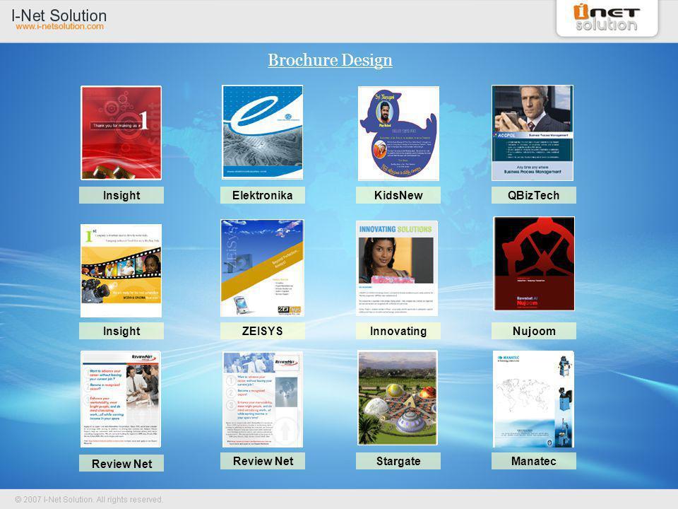Brochure Design InsightElektronikaQBizTech InsightZEISYSNujoom Review Net StargateManatec KidsNew Innovating