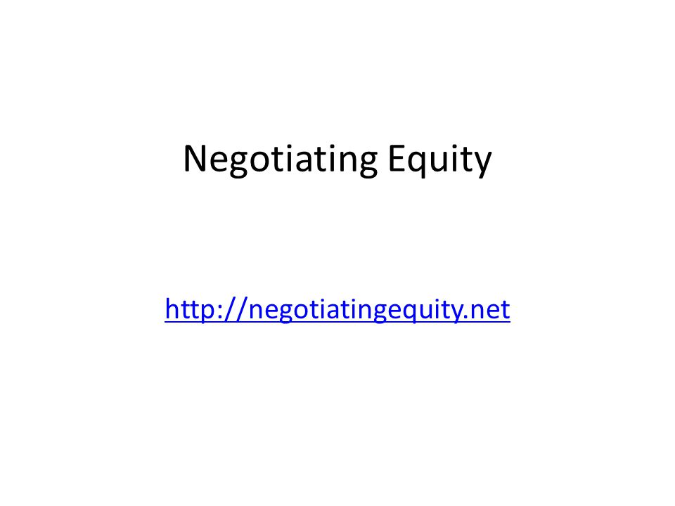 Negotiating Equity http://negotiatingequity.net