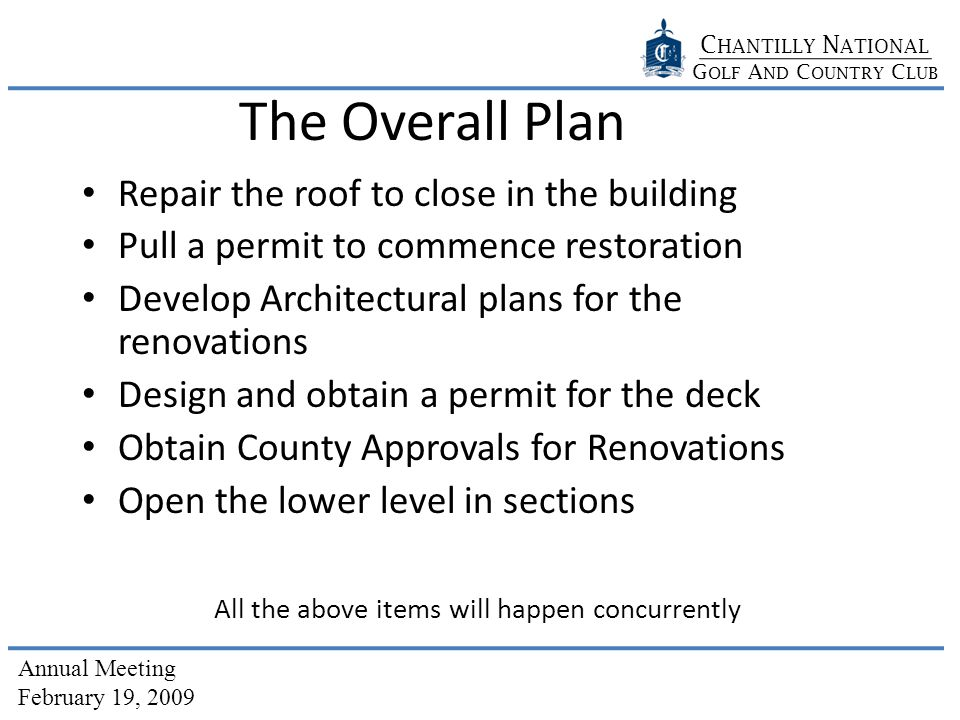 C HANTILLY N ATIONAL G OLF A ND C OUNTRY C LUB Annual Meeting February 19, 2009 The Overall Plan Repair the roof to close in the building Pull a permit to commence restoration Develop Architectural plans for the renovations Design and obtain a permit for the deck Obtain County Approvals for Renovations Open the lower level in sections All the above items will happen concurrently