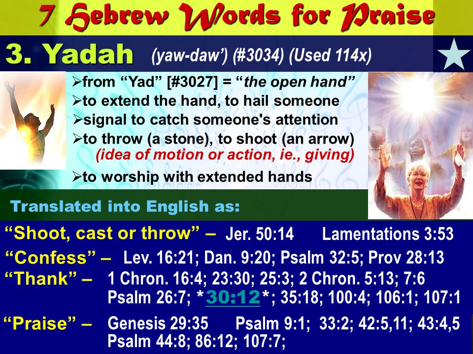 7 Hebrew Words for Praise 3. Yadah (yaw-daw) (#3034) (Used 114x) Confess – Lev. 16:21; Dan. 9:20; Psalm 32:5; Prov 28:13 Jer. 50:14 Shoot, cast or thr