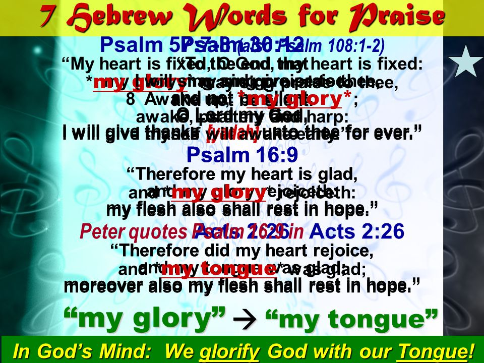 7 Hebrew Words for Praise Psalm 30:12 To the end that my glory may sing praise to thee, and not be silent. O Lord my God, I will give thanks [yadah] u