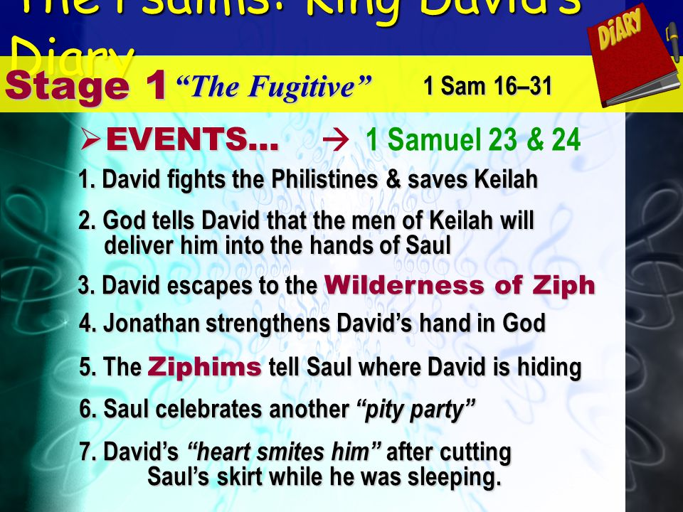 The Psalms: King Davids Diary 1 Samuel 23 & 24 Stage 1 The Fugitive E EVENTS... 1. David fights the Philistines & saves Keilah 1 Sam 16–31 2. God tell