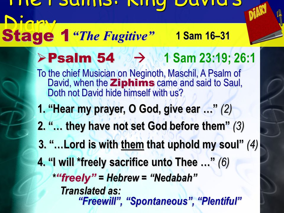 The Psalms: King Davids Diary 1 Sam 23:19; 26:1 Stage 1 The Fugitive P Psalm 54 1. Hear my prayer, O God, give ear … (2) 1 Sam 16–31 2. … they have no