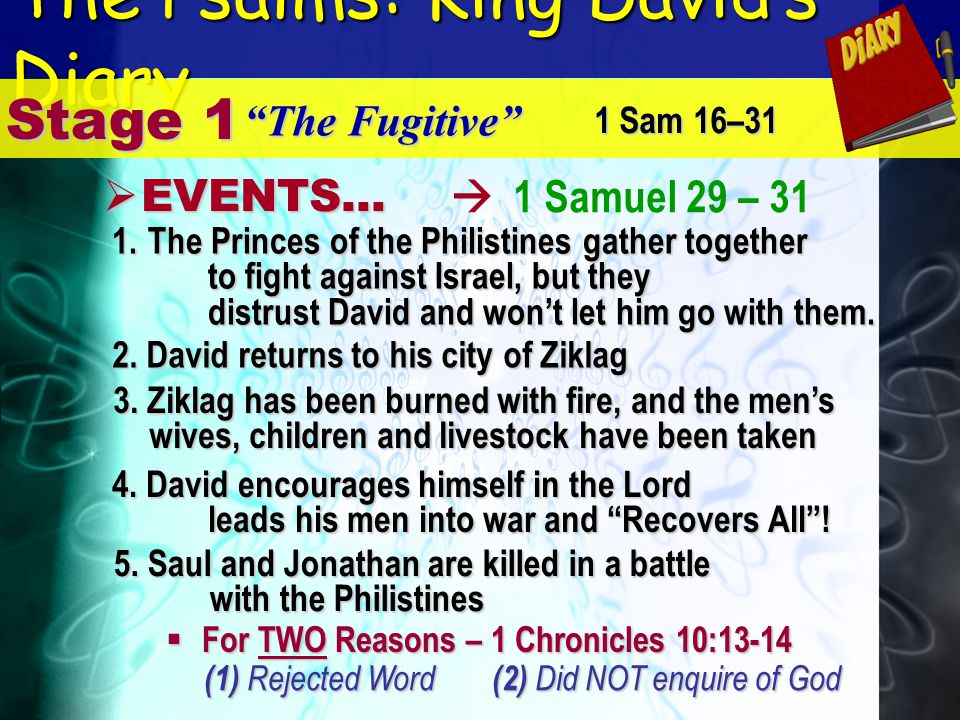 The Psalms: King Davids Diary 1 Samuel 29 – 31 Stage 1 The Fugitive E EVENTS... 1 Sam 16–31 2. David returns to his city of Ziklag 1.T he Princes of t
