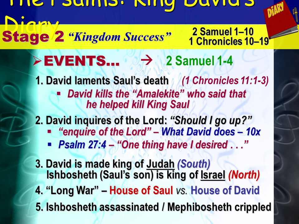 The Psalms: King Davids Diary Stage 2 Kingdom Success E EVENTS... 2 Samuel 1–10 1 Chronicles 10–19 2 Samuel 1-4 1. David laments Sauls death 4. Long W