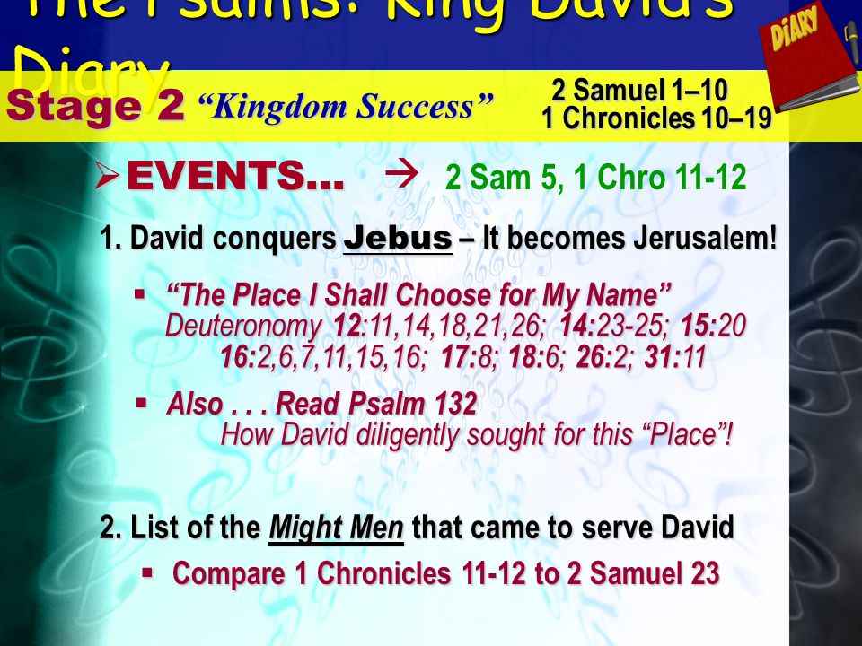 The Psalms: King Davids Diary Stage 2 Kingdom Success E EVENTS... 2 Samuel 1–10 1 Chronicles 10–19 2 Sam 5, 1 Chro 11-12 1. David conquers Jebus – It