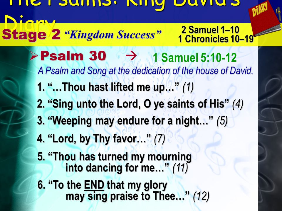 The Psalms: King Davids Diary Stage 2 Kingdom Success 2 Samuel 1–10 1 Chronicles 10–19 1 Samuel 5:10-12 P Psalm 30 4. Lord, by Thy favor… (7) 5. Thou