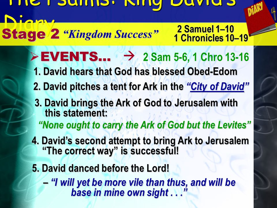 The Psalms: King Davids Diary Stage 2 Kingdom Success E EVENTS... 2 Samuel 1–10 1 Chronicles 10–19 2 Sam 5-6, 1 Chro 13-16 None ought to carry the Ark
