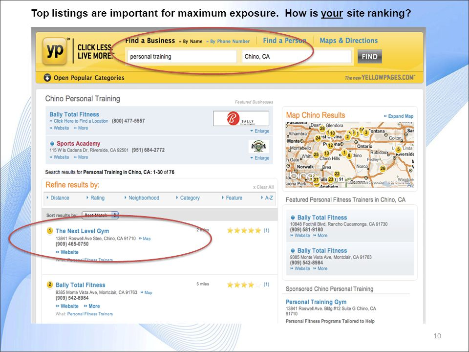 10 Top listings are important for maximum exposure. How is your site ranking?