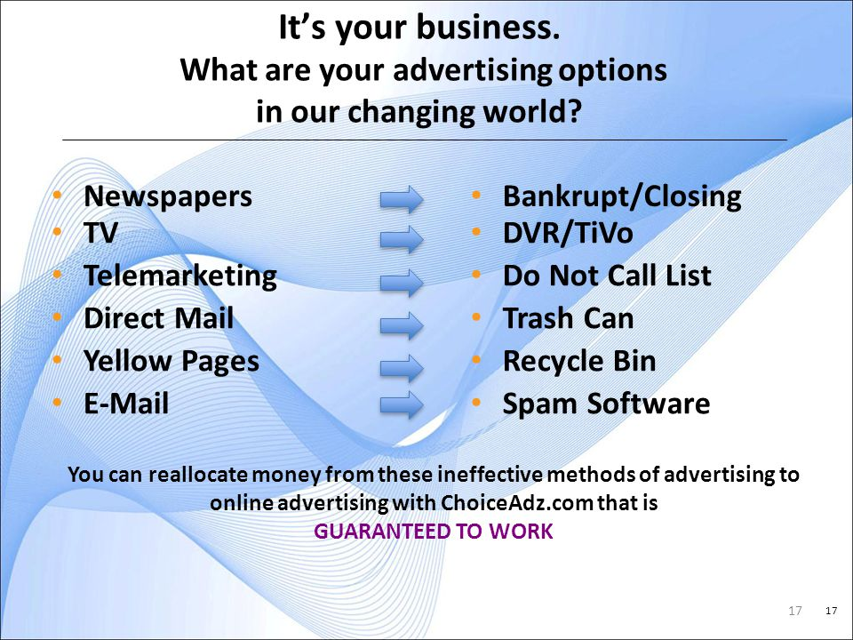 17 Its your business. What are your advertising options in our changing world.